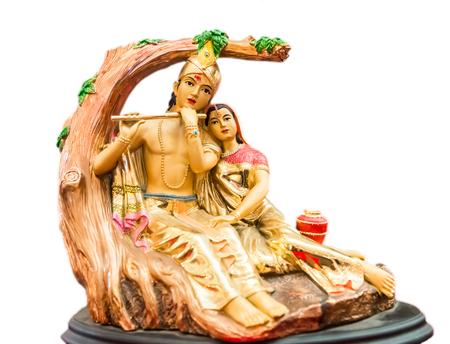 Shree Krishna and Radha   who  are 8th incaration of Vishnu God story in  Hindusim mythology figure for worship isolated on white background