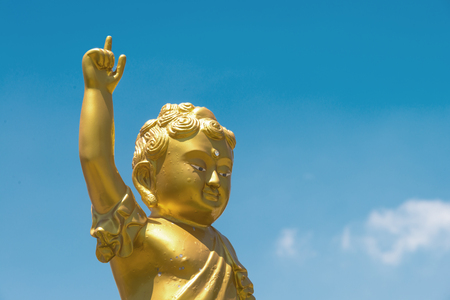 forefinger: Golden baby Buddha statue raise arm and point forefinger up to blue sky pose