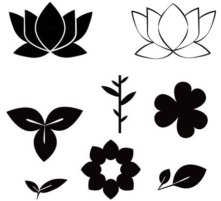 clover shape: Flowers shape black silhouette set  illustrations isolated on white background contain of clover, lotus,bamboo,leaves and flowers