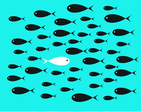 adverse: White  Fish swim opposite upstream the ton of black fish on aqua blue background illustrations
