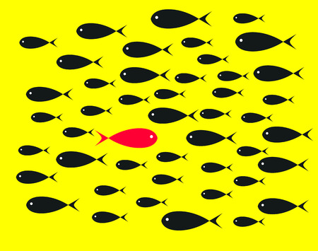 perverse: Red  Fish swim opposite upstream the ton of black fish on yellow background illustrations