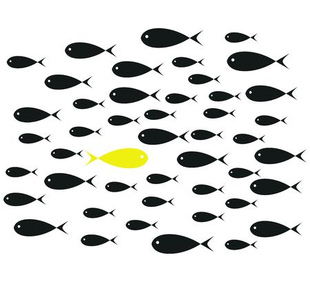Yellow Fish swim opposite upstream the ton of black fish isolated on white background illustration