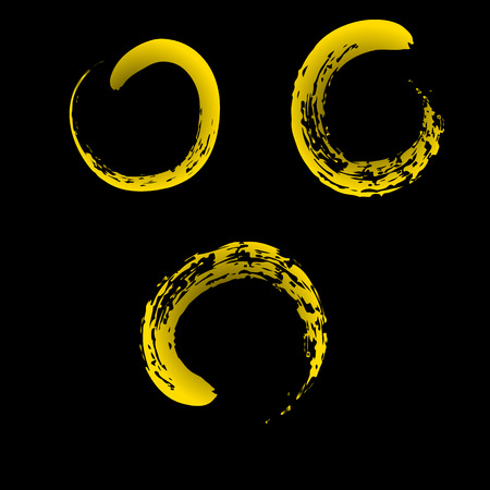 enso: Zen symbol on chinese brush yellow isolated on black background