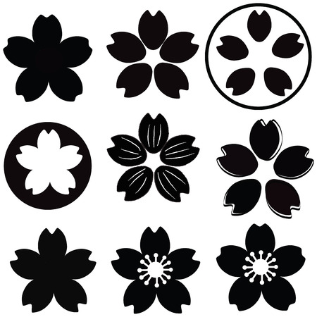 shade: Cherry Blossom  flower silhouette set vector with many style include drawing style and shade