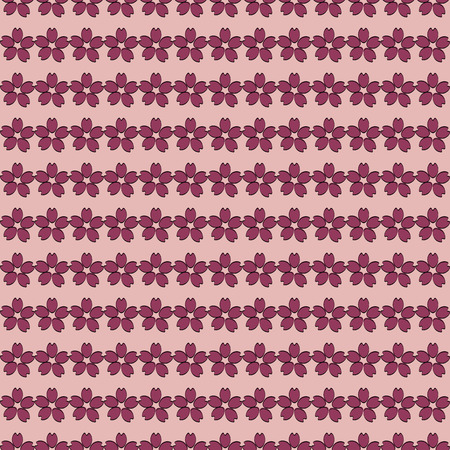 lobe: Cherry blossom sketch style with red lobe seamless on pink background for spring