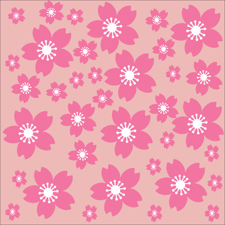 lobe: Cherryblossom sketch style with pink lobe  and white petal seamless on pink background for spring Illustration
