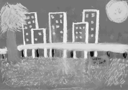 Kid draw view point with tree and building and the sun with chalk on black board black and white