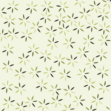 lite: Seamless of 6 lobe  different green tone colors leaves shape on lite yellow background