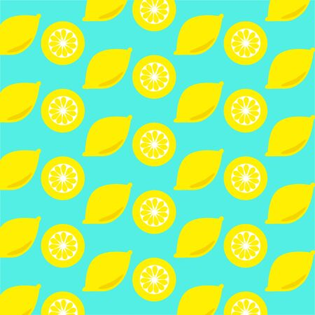 softdrink: Lemon and lemon slices seamless on cyan background Stock Photo