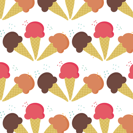 flavour: Seamless of three ice-cream cone flavour isolated on white background vector illustrations with color sugar as topping above each cone