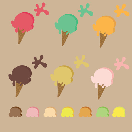 sherbet: Ice cream cone with many kind of color such as strawberry sherbet,lemon,vanilla,chocolate,strawberry, matcha and there is color pallete to change the color Illustration