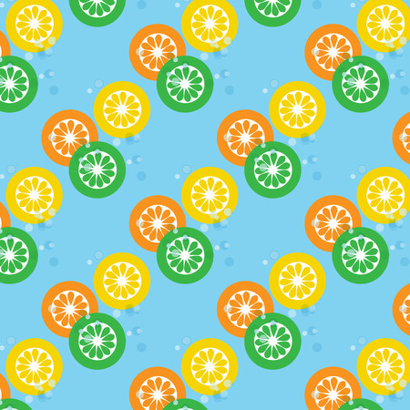 softdrink: Lemon orange and lime slices on soda with bubbles seamless  on blue  background