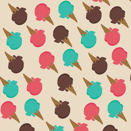 sherbet: Ice cream cone with strawberry sherbet, mint and chocolate  background vector illustrations