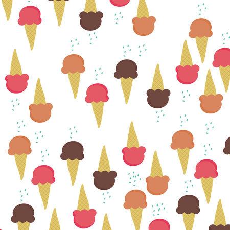 sugar cone: Three ice-cream cone flavour isolated on white background vector illustrations with color sugar as topping above each cone