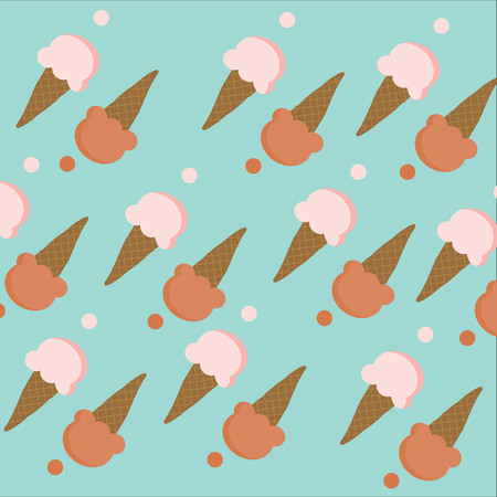 icecream cone: Seamless of Ice-cream cone with pink and chocolate brown color on  cyan background