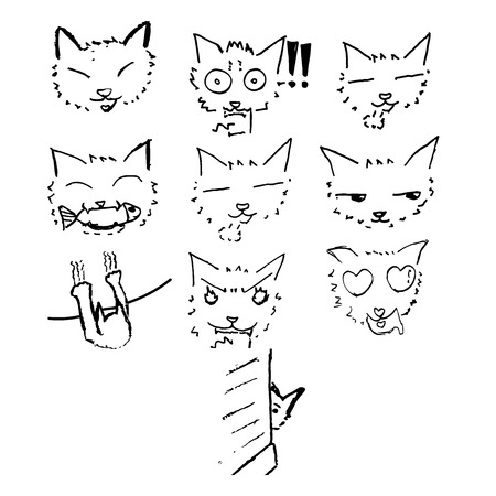 wonder: Cat sketch drawing in Japanese comic style (called manga) with 7 emotion:smile,curious,wonder,eat fish,scratch wall,angry,in love,sneak peak