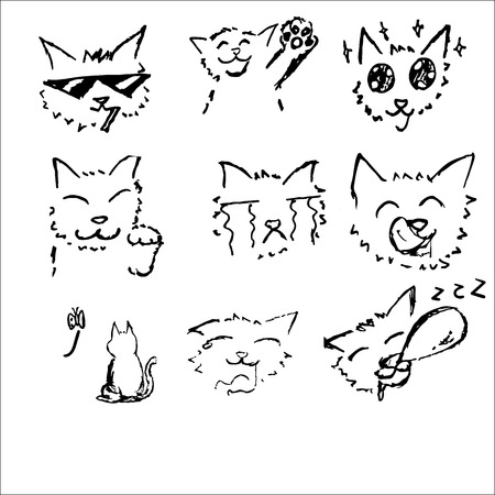 yawn: Cat drawing sketch black and white in Japanese comic style 6 emotion set  with happy , smoking,be impressed,welcome,cry,yawn,empty,sleepy Illustration