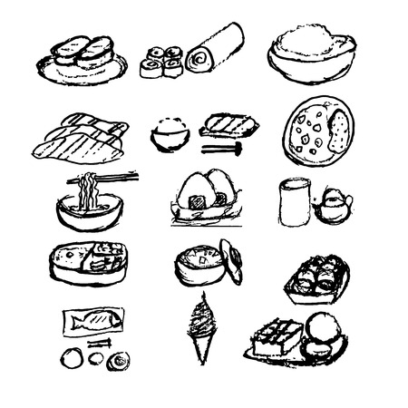 curry rice: Japanese food doodle hand draw style set  12 item