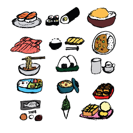 softcream: Japanese food  hand draw style with colored set