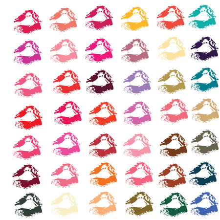 violette: Collection of lipsticks print of mouth in 42 colors  set vector illustrations Illustration