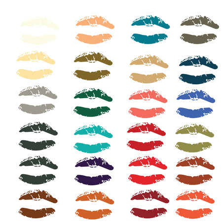violette: Collection of lipsticks print of mouth in 24 colors  set vector illustrations Illustration