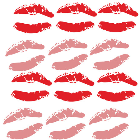 violette: Seamless lipsticks with red and pink color print  vector illustrations on white background