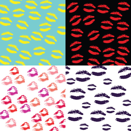 violette: Seamless of 4 color tone of lipsticks print background vector illustrations Illustration