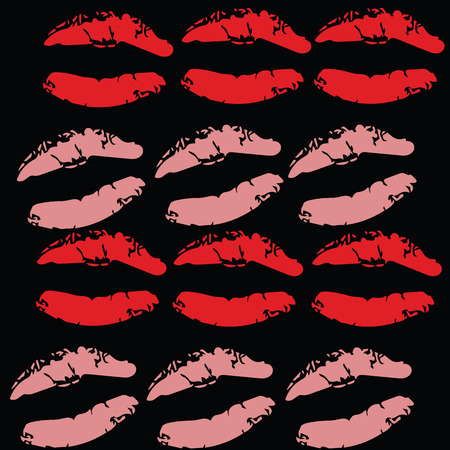 violette: Seamless lipsticks with red and pink color print  vector illustrations on black background