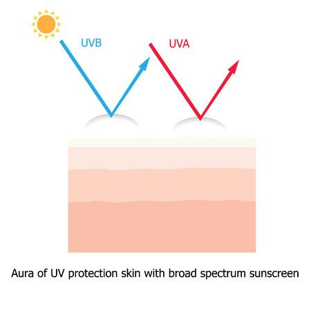 Infographic over zonnebrandcrème te beschermen menselijke huid tegen UVA, UVB stralen met aura van zonnebrandmiddel