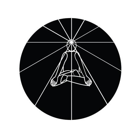 radiate: Men get meditation and open the third-eye radiate  light  on black circle in vector  flat silhouette design