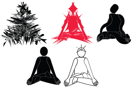 concentrate: Step of meditation from confuse and become concentrate and open the third-eye in Hinduism on white background on vector  flat silhouette design Illustration