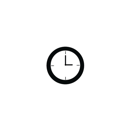 pm: Clock at 3 a.m morning or 3 p.m. afternoon black color isolated on white background