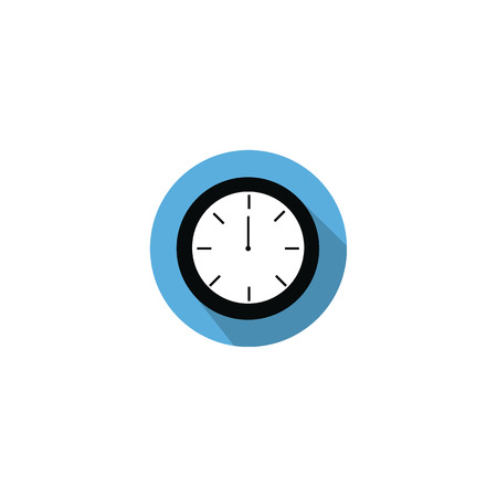 pm: Clock at 12:00 noon or 0:00 midnight flat blue icon with long shadow isolated on white background Illustration