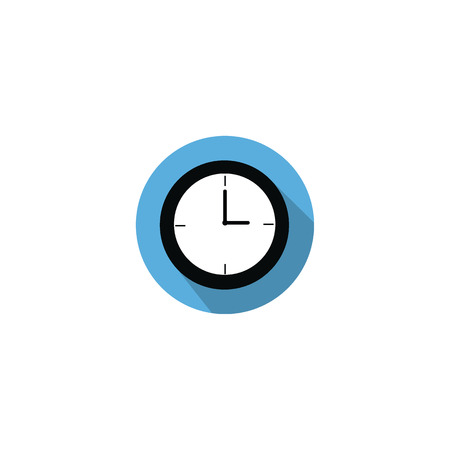 pm: Clock at 3 a.m morning or 3 p.m. afternoon flat icon on blue circle with long shadow isolated on white background Illustration