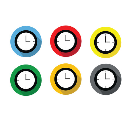 pm: Clock at 3:00 a.m. or 3:00 p.m. flat 6 icons design with long shadow isolated on white background Illustration