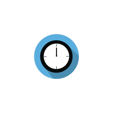 Clock at 12:00 noon or 0:00 midnight flat blue icon with long shadow isolated on white background Illustration