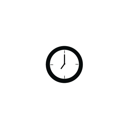 Clock at 8 a.m morning or 8 p.m. black color isolated on white background