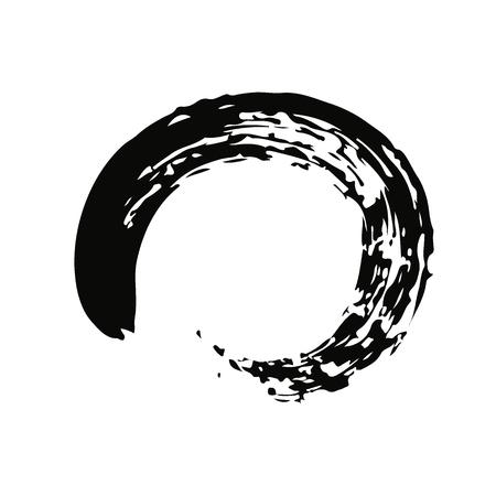 mediation: Black Chinese brush draw the symbol of Zen (Chinese and Japanese Buddhism religion concept) isolated on white background