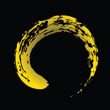 Yellow Chinese brush draw the symbol of Zen (Chinese and Japanese Buddhism religion concept) isolated on black background