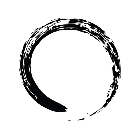 Black Chinese brush draw the symbol of Zen (Chinese and Japanese Buddhism religion concept) isolated on white background