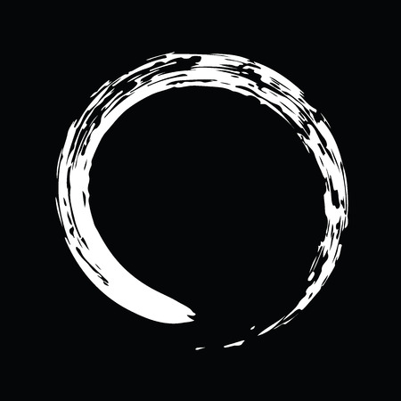Weiß Chinesische Pinsel ziehen das Symbol des Zen (chinesischen und japanischen Buddhismus Religion Konzept) auf schwarzem Hintergrund isoliert