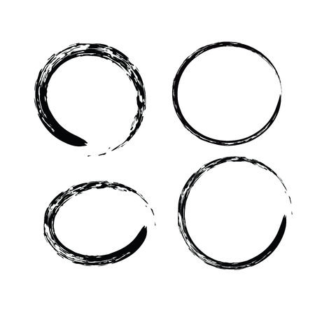 Black Chinese brush draw the symbol of Zen (Chinese and Japanese Buddhism religion concept) 4 symbols set isolated on white background