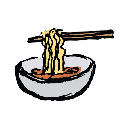 â??Ramenâ?? (Japanese noodles)  in hand draw doodle style vector illustration isolated on white background Illustration