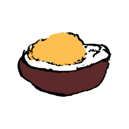 fried rice: Japanese rice served with fried pork with big bowl (Katsudon) in sketch drawing style vector isolated on white background Illustration