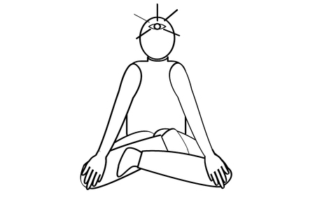 third eye: Human on meditation yoga doodle style and sit and open his third-eye vector isolated on white backgrounnd