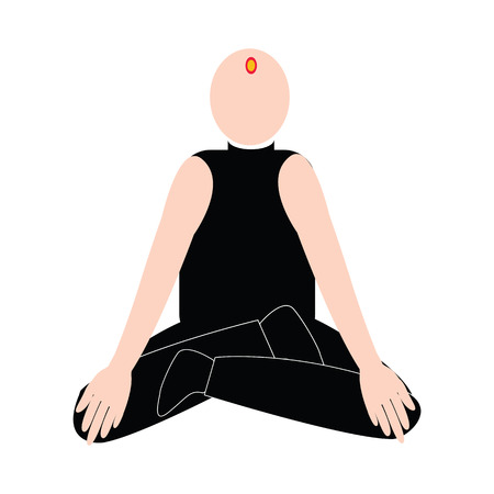 Bald man with brahmin symbol on the head get mediatation yoga with black shirt vector isolated on white backgrounnd Illustration