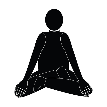 concentrate: Human on meditation yoga with black shape and sit for concentrate and relax the mind vector isolated on white backgrounnd
