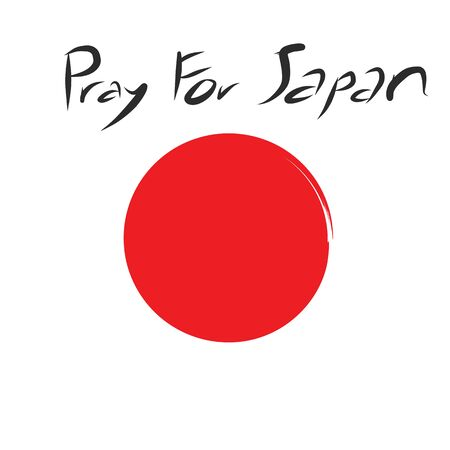 quake: Pray for Japan with red circle of Japan flag on white background and art letter