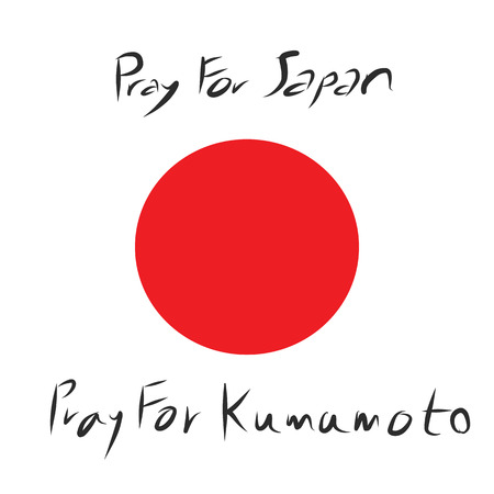 incident: Pray for Japan and Pray for Kumamoto province in the diaster of Earthquake in the west of Japan incident vector Illustration