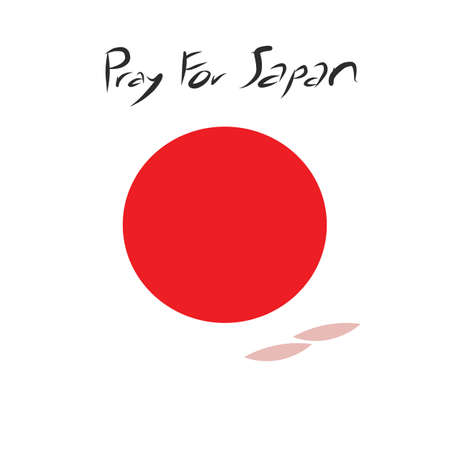 quake: Pray for Japan with cherryblossom drop around the red circle of Japan flag on white background and art letter